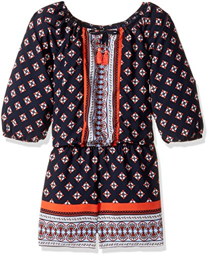 My Michelle Big Girls' Multi Print Long Sleeve Romper with Tassels, Navy, M (Michelle Clothes My)