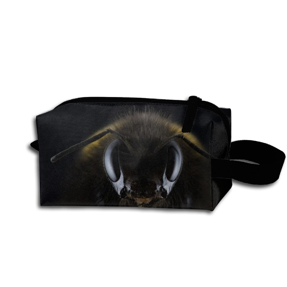 Bumble Bee Eyes Insects Bees Cosmetic Bag Zipper Storage Bag Portable Ladies Travel Bag