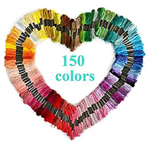 150 Skeins of 8m Multi-color Soft Cotton Cross Stitch Embroidery Threads Floss Sewing Threads-pack of 150pcs (Random Color) (150)