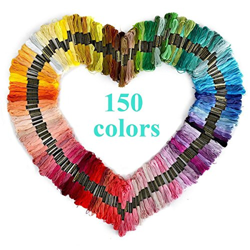 150 Skeins of 8m Multi-color Soft Cotton Cross Stitch Embroidery Threads Floss Sewing Threads-pack of 150pcs (Random Color) (150) - Multi Color Stitch