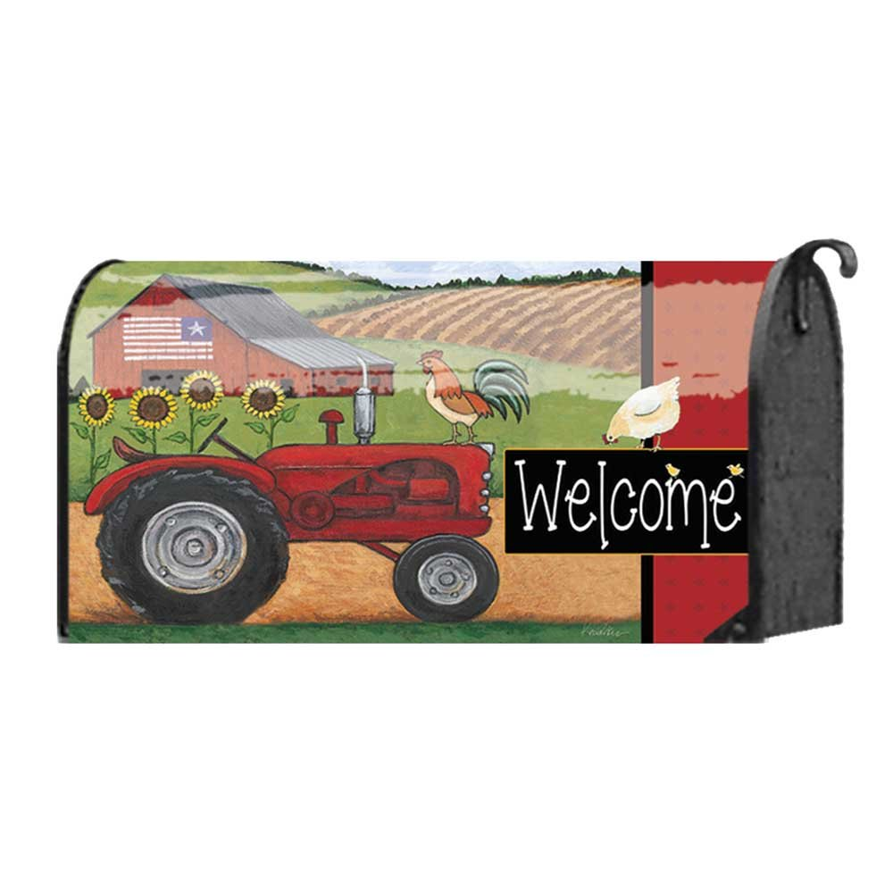 Welcome Patriotic Barn and Farm Tractor 22 x 18 Standard Size Mailbox Cover