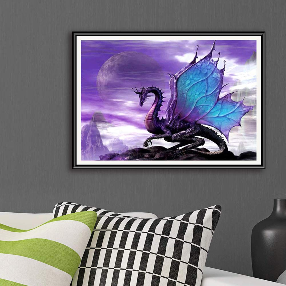 Dragon DIY 5D Diamond Painting Kits for Adults Full Drill Embroidery Paintings Rhinestone Pasted DIY Painting Cross Stitch Arts Crafts for Home Wall Decor 40x50cm////15.7x19.6Inches