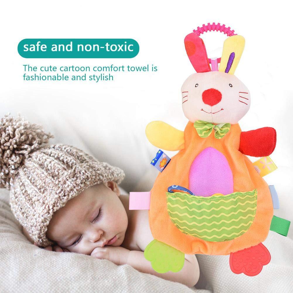#1 lindo algod/ón de dibujos animados Comfort Towel Teether Toy Pacify Doll para beb/é infantil Manta de seguridad