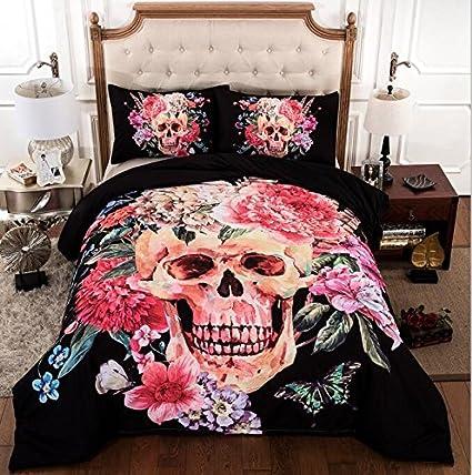 trust blooming flower on skull print 3d bedding sets 100 cotton halloween duvet cover comforter