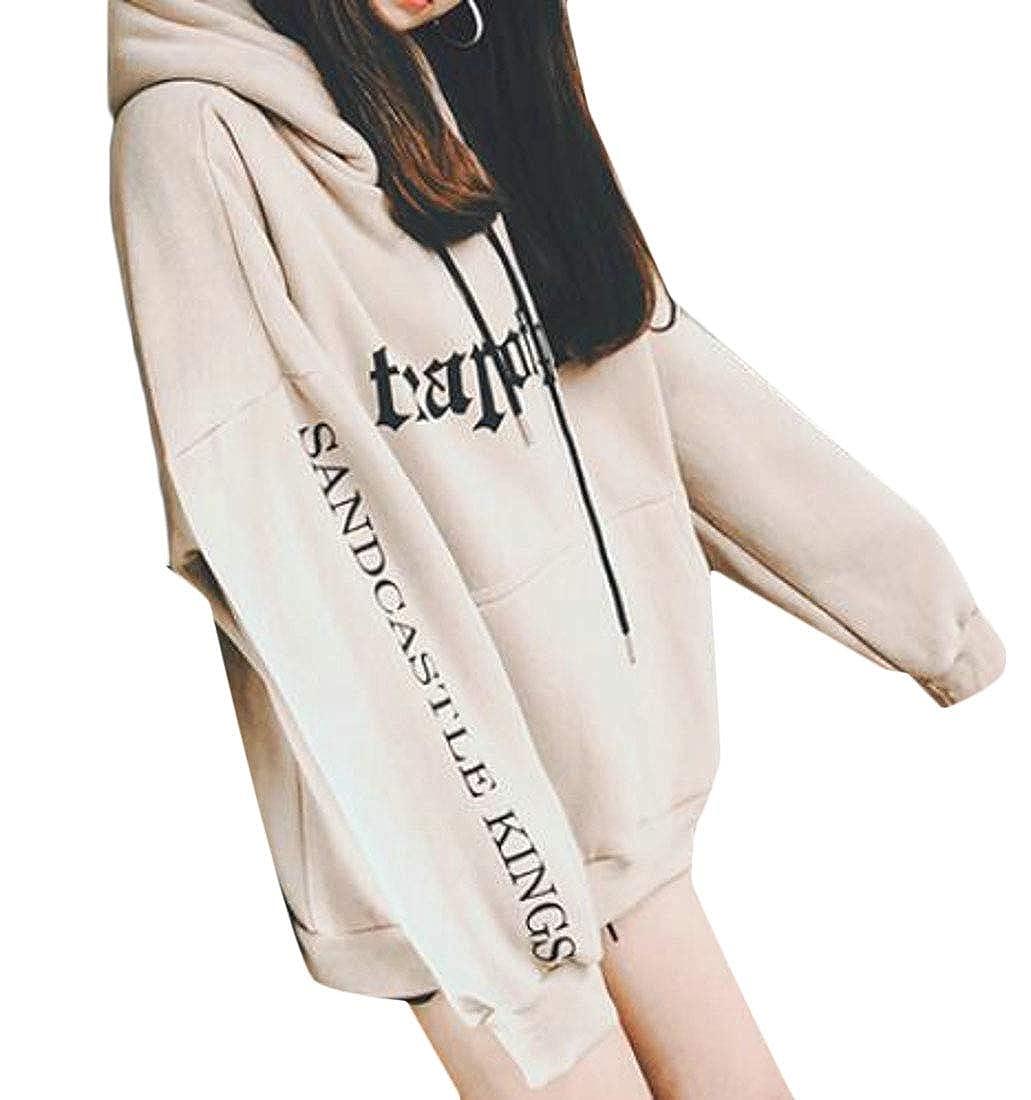 Fubotevic Womens Boyfriend Pocket Letter Print Long Sleeve Pullover Hooded Sweatshirt