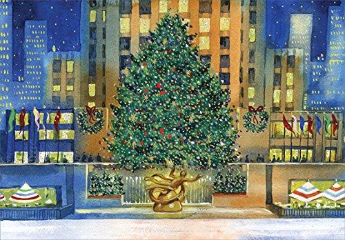 Rockefeller Center Tree - Designer Greetings New York City Box of 18 Christmas Cards