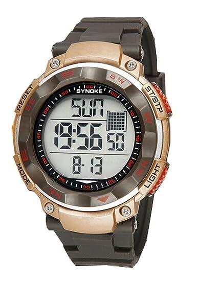 Hombre de jóvenes Outdoor Big Dail reloj deportivo digital impermeable Relojes de pulsera. Oro