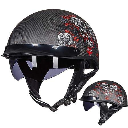 Medio Casco de Motocicleta con Casco de protección de Fibra ...