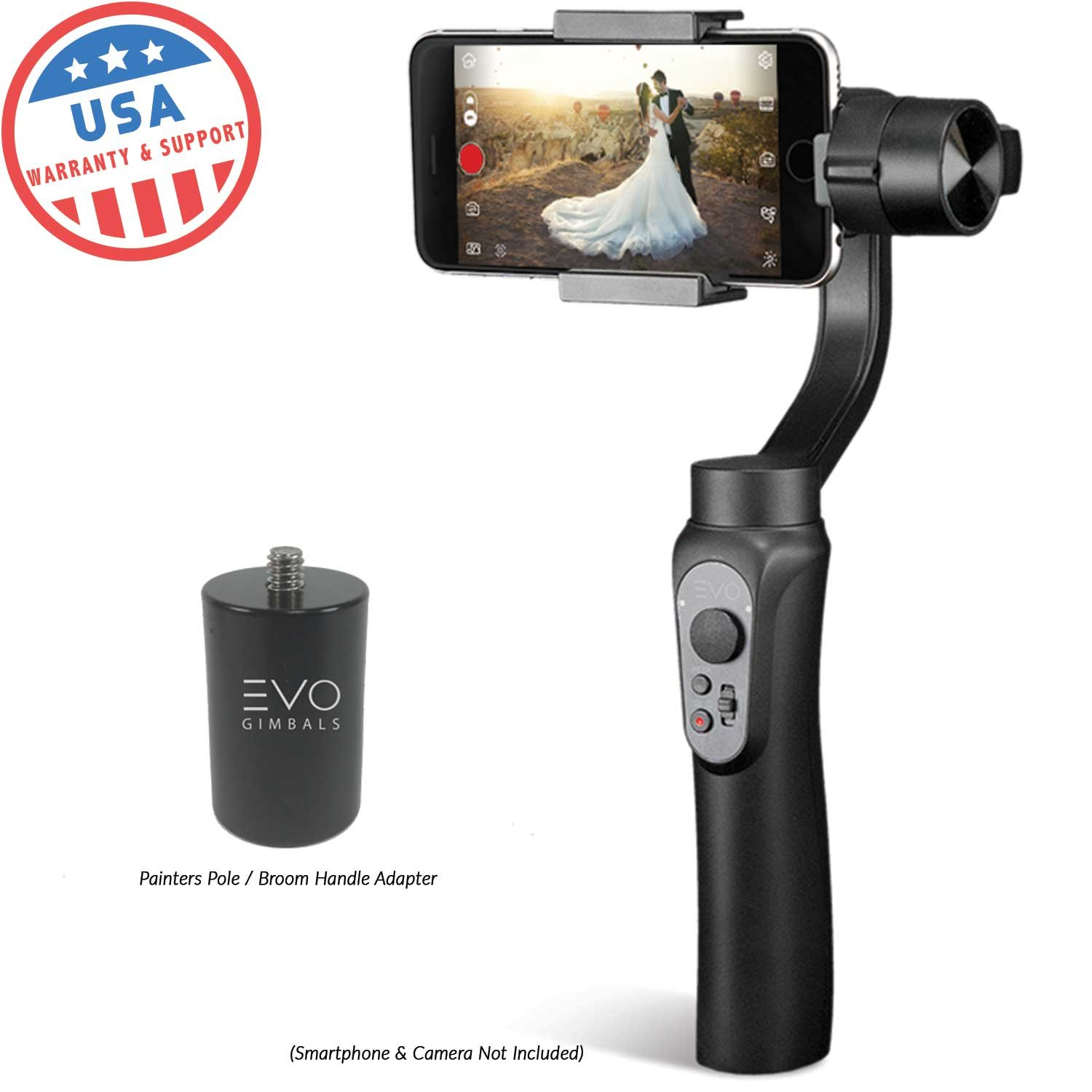 EVO Shift Camera Stabilizer - Handheld Gimbal for iPhone & Android Smartphones | Black | 1 Year US Warranty | Bundle Includes: EVO Shift + PA100 Pole Adapter