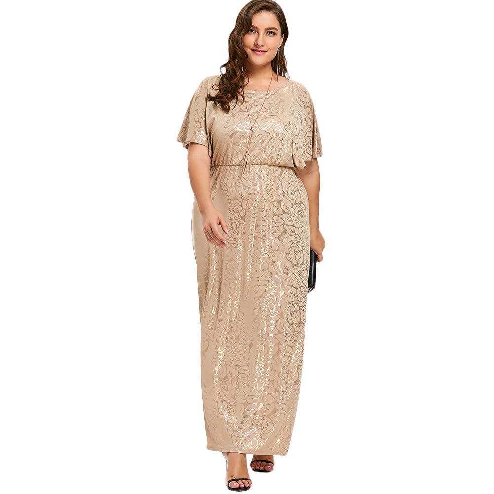 KUREAS Plus Size Evening Party Maxi Dress Short Sleeves Women Mother of The  Bride Dress Beige