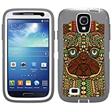 Skin Decal for Otterbox Defender Samsung Galaxy S4 Case - Aztec Pug Head Orange