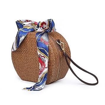Meaeo Sac À Main Sac Tissé De Paille Mesdames Main Grab Bag Sac Bandouliere,Couleur Abricot.