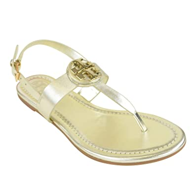 a9e1df42f Image Unavailable. Image not available for. Color  Tory Burch 46233 Bryce  Flat Thong Sandal Spark Gold ...