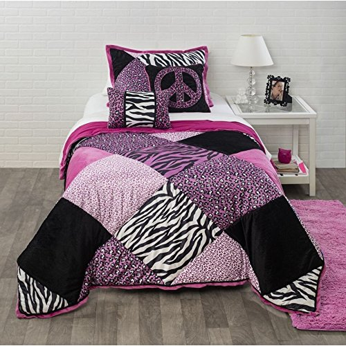 3 Piece Full Queen Black Pink Purple Animal & Patchwork Pattern Comforter Set, High Class Cheetah & Zebra Print Bedding, Polyester, Casual & Contemporary Style, Best Bedding For Girls, - Zebra And Print Cheetah