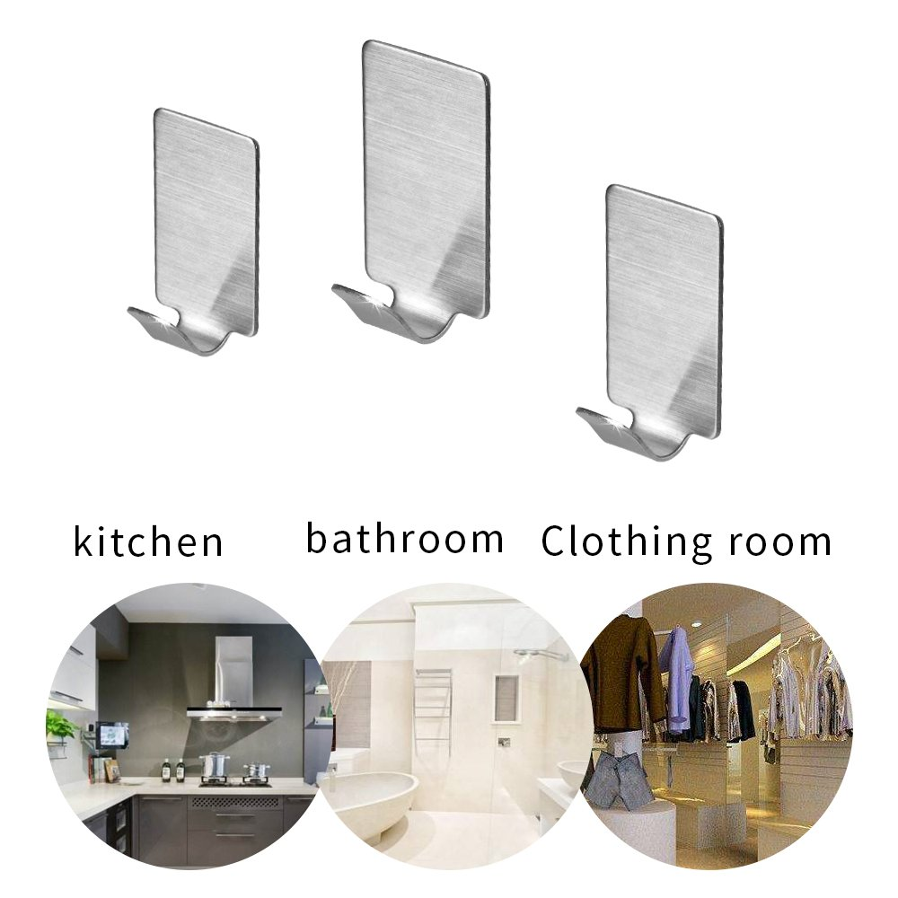Self Adhesive Hooks, HYCKee 18/8 Stainless Steel 3M Hooks for Kitchen Bathrooms Lavatory Closets, No Drill Glue Needed, Water and Rust Proof (8 Hook)