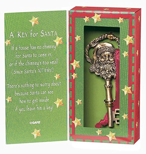 Ganz A Key for Santa Ornament Zinc Set Santa Chimney
