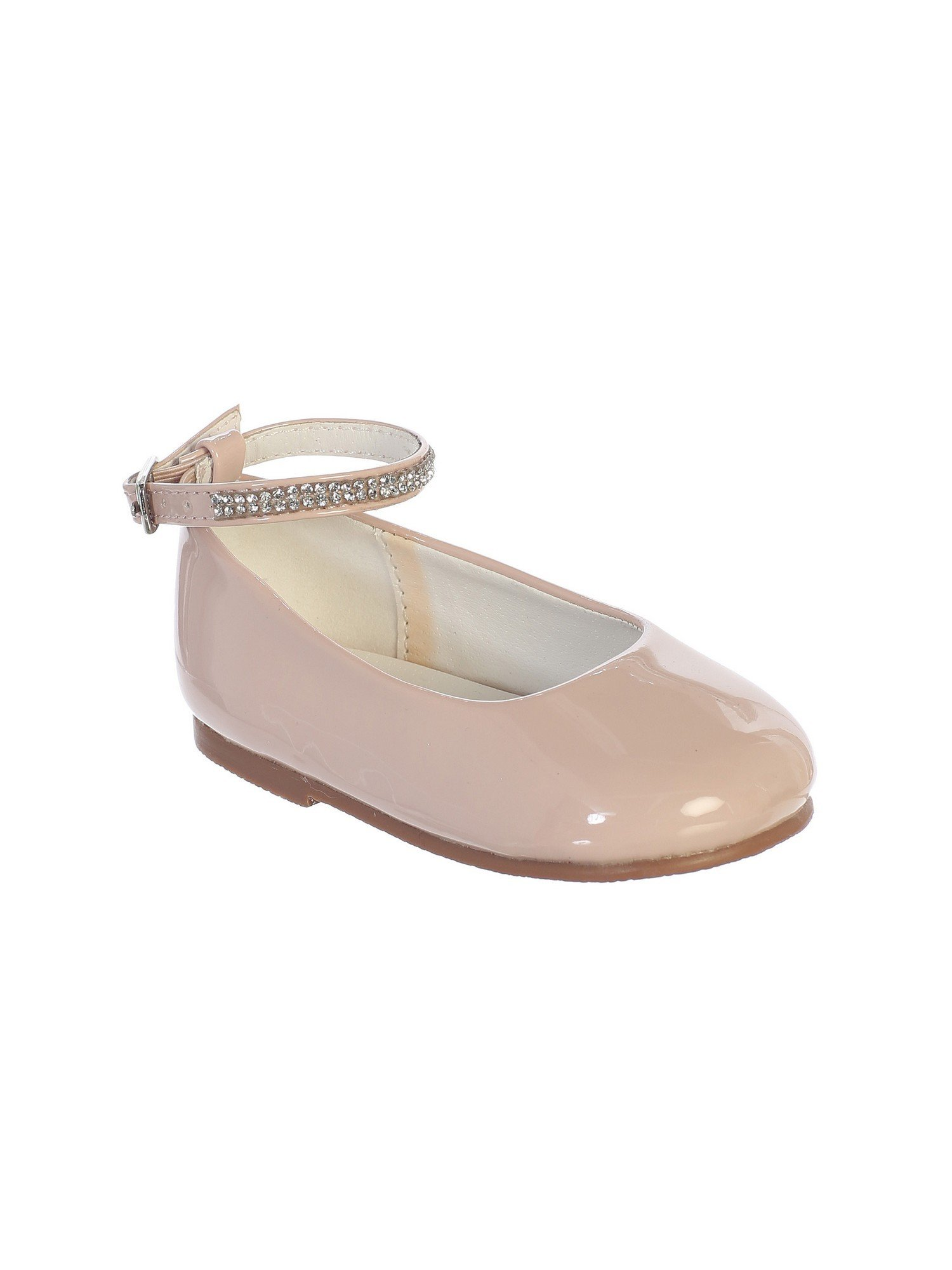 Little Girls Blush Patent Rhinestone Encrsuted Ankle Strap Flats 10 Toddler