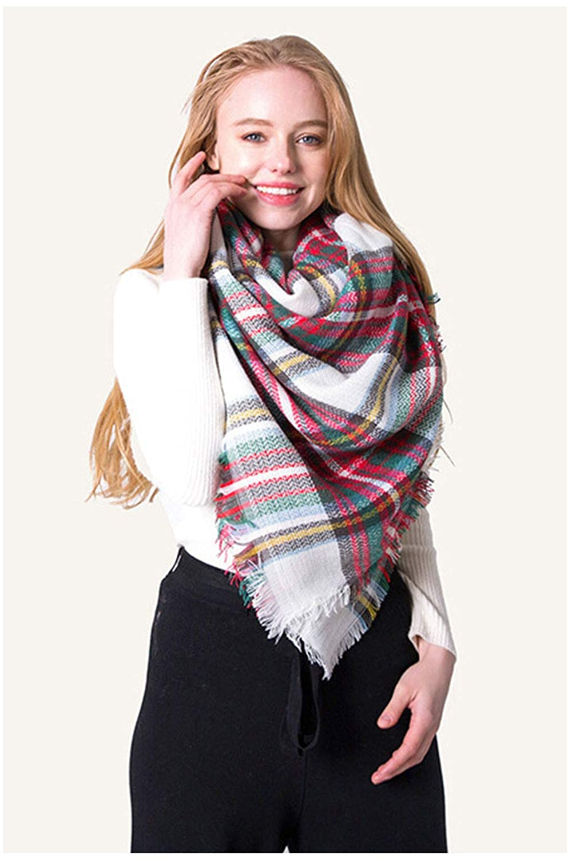 Womens Plaid Blanket Winter Scarf Warm Cozy Tartan Wrap Oversized Shawl Cape Bridal Fashion Long Lattice Large Scarf