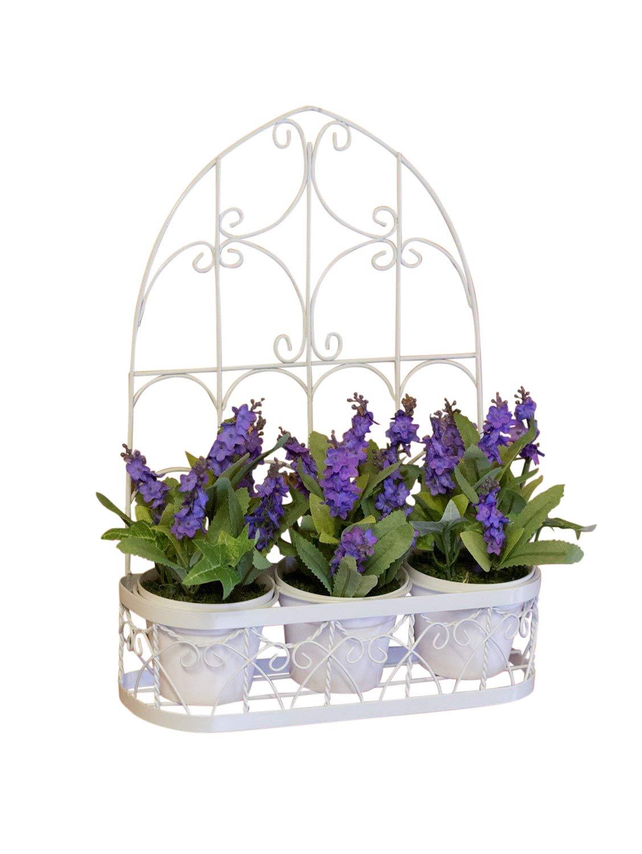 Künstliche Pflanzen, 3 x Lavendel Töpfe in attraktiver Bilderrahmen ...