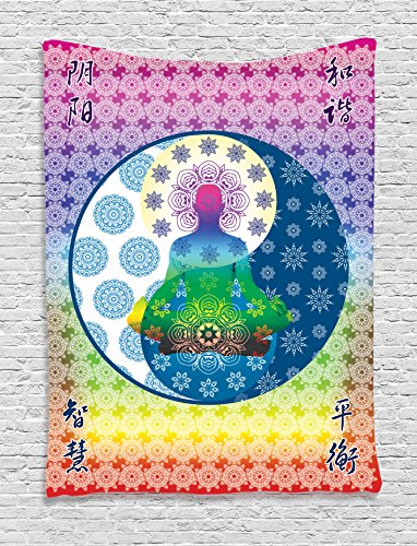 Ambesonne Home Decor Collection, Meditation and Yoga Theme Ethnic Patterns Chakra