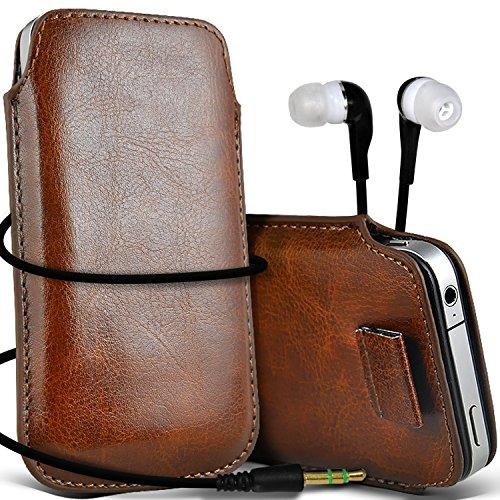 N4U Online - Apple Iphone 5S Prime de protection PU cuir Pull Tab cordon glisser la peau Pouch Pocket Housse & Matching casque 3,5 mm écouteurs écouteurs - Brun