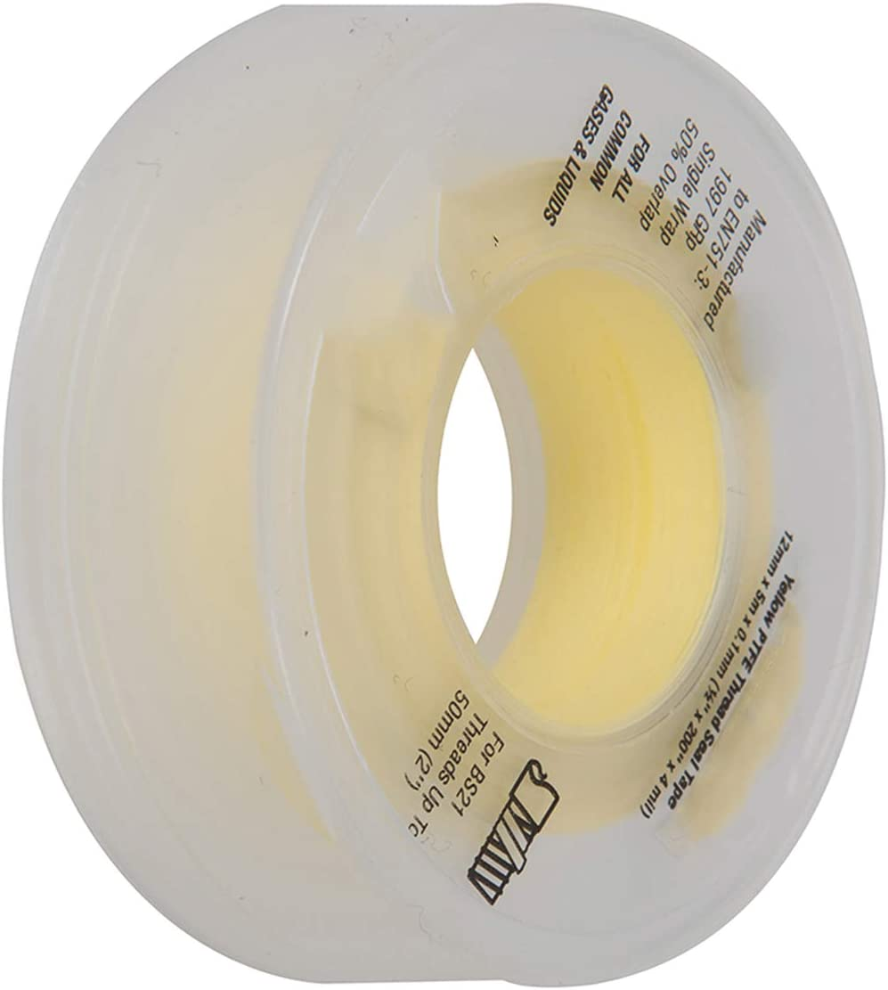 PTFE THREAD SEAL TAPE FOR GAS 12MM X 5M PACK OF 10