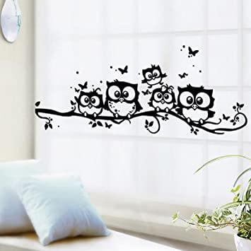 amaonm family owls on the tree branches wall decal removable cartoon black vinyl owl wall art