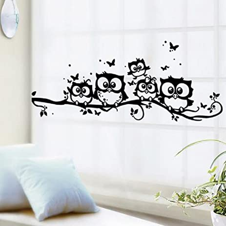Exceptionnel Amaonm Family Owls On The Tree Branches Wall Decal Removable Cartoon Black  Vinyl Owl Wall Art