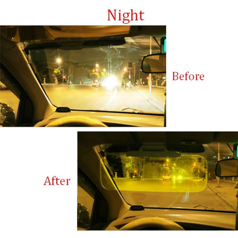 ADEPTNA 2 in 1 Universal Tinted Sun Shade and Headlight Glare at Night Day and Night Car Visor Glare Reducing Clarity and Contrast See More Clearly Drive More Safely