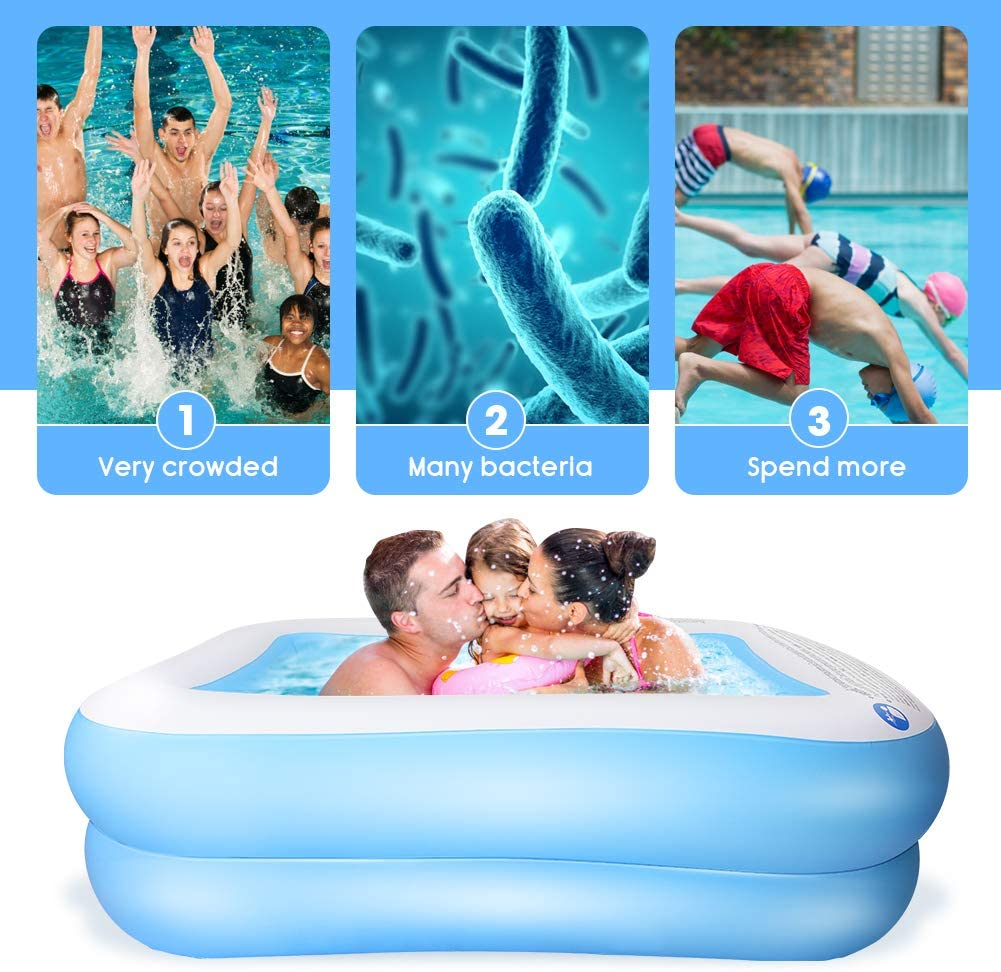 L for Kids KKTECT Paddling Pool Inflatable Swimming Pool Second Ring Adults Outdoor Indoor Garden Game Blue Rugged PVC Portable Rectangular Family Swimming Pool