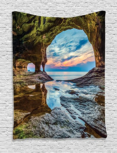 Mediterranean Sea Pictures (Ambesonne Natural Cave Decorations Collection, Rock Shelter with Lake Magical Up on the Sea Mediterranean Wonders Wet Photo, Bedroom Living Room Dorm Wall Hanging Tapestry, Blue Cream)