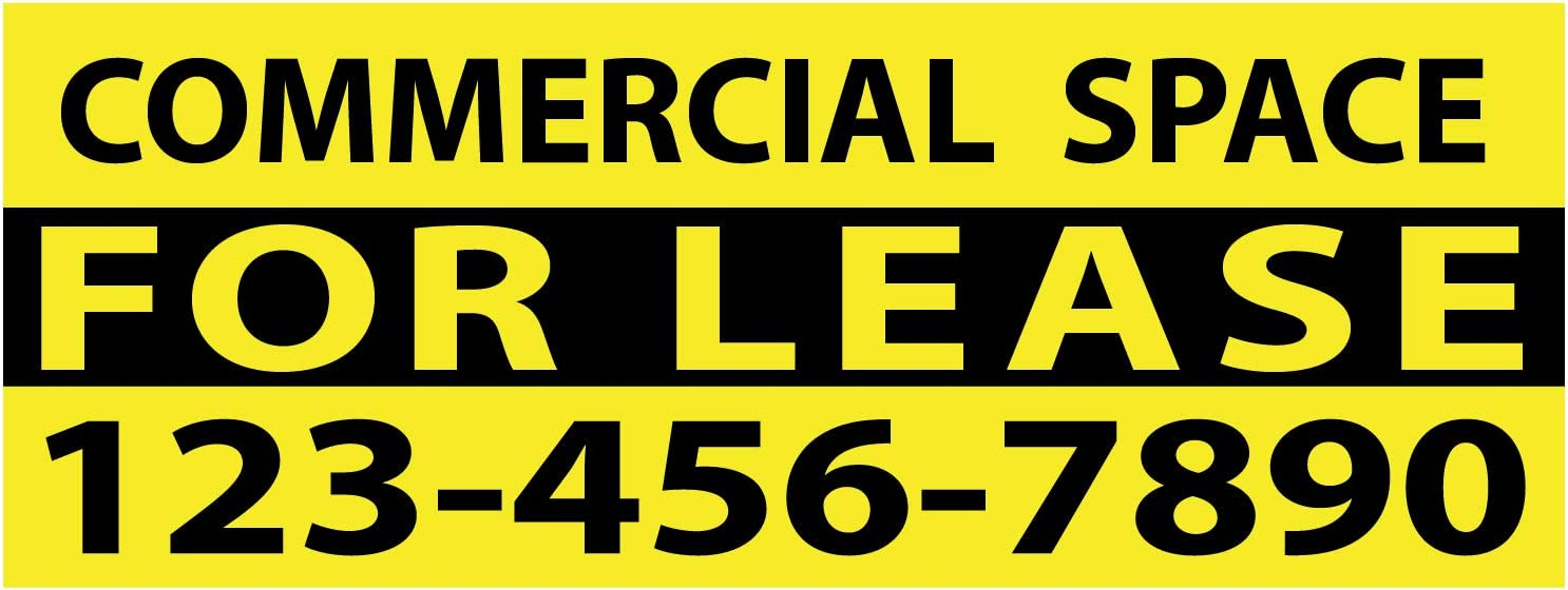 """BANNER BUZZ MAKE IT VISIBLE Commercial Space for Lease Vinyl Banner 11 oz with Metal Grommets & Hemmed Edges for Decoration, Business, Outdoor, Events, Office (64"""" X 24"""")"""