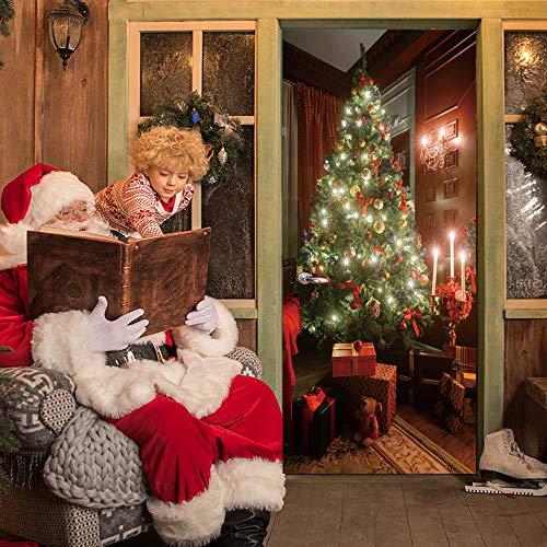 - VANCORE 3D Door Wallpaper Murals Wall Stickers,Door Christmas Stickers,Self-Adhesive Vinyl Removable Art Door Decals 30.3x78.7,Christmas Tree