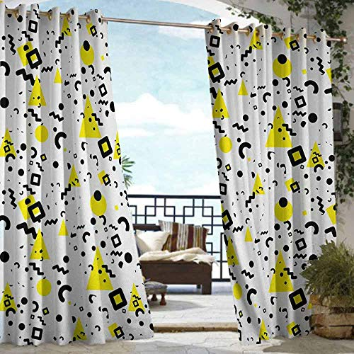 S Brave Sky Black and Yellow Outdoor Curtain Waterproof Primitive Patterns of Minimalism 80s 90s Years Memphis Style Outdoor Curtain for Patio Furniture Black Yellow White (Furniture Memphis Patio)