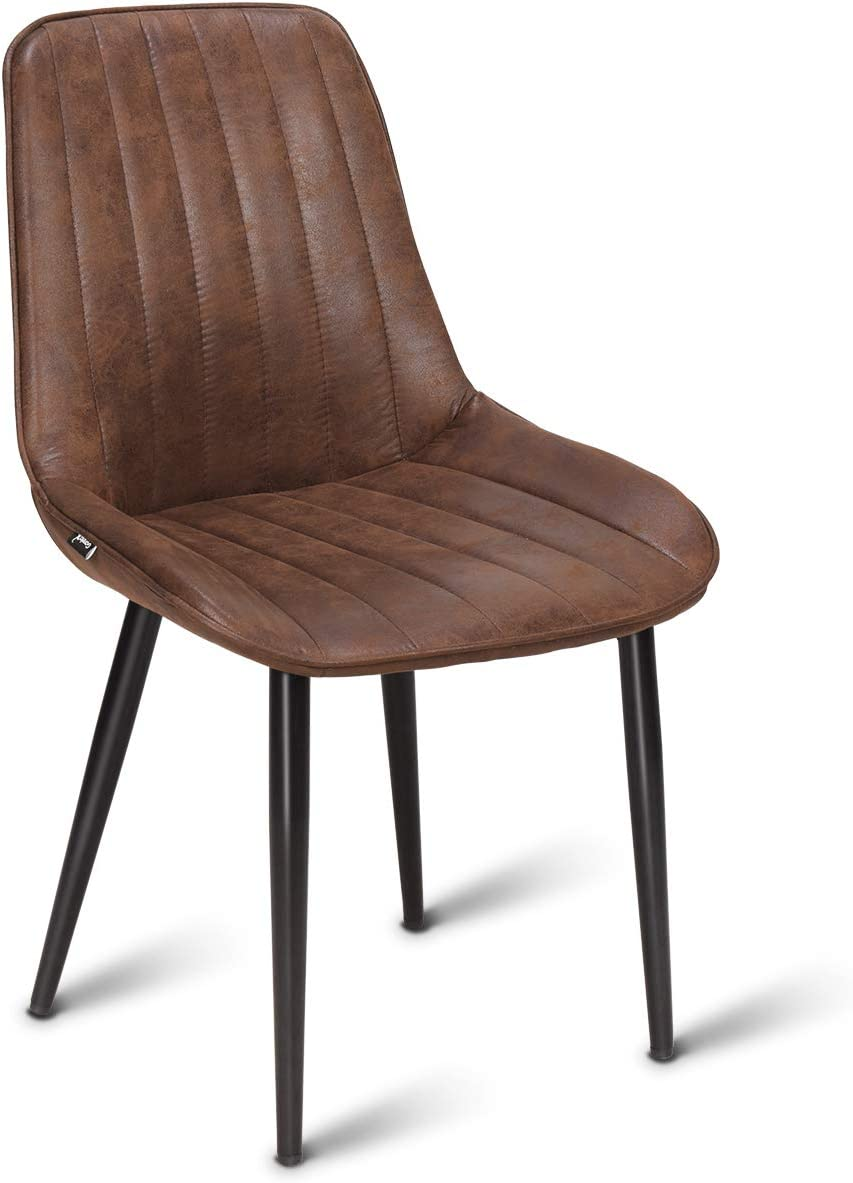 Costway Dining Side Chair, Modern Accent Armless Comfortable Padded Velvet Seat Back Dining Chairs Bar Height Dining Living Kitchen Pub Bistro Chairs, Brown 1 Dining Chair