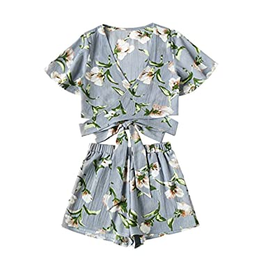 d2bcd947b2a Women Rompers Chiffon Floral Print Crop Tops Shorts Two Piece Outfits Beach  Jumpsuit for Teen Girls