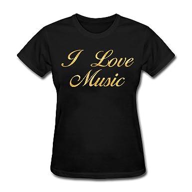 2876c6c0 Amazon.com: CCBING Women's I Love Music T-Shirt: Clothing