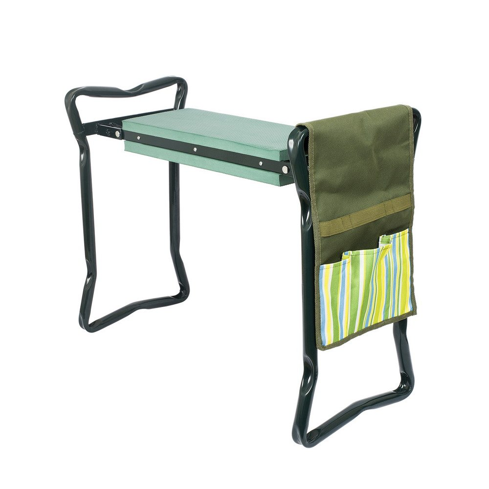 Timaik Garden Kneeler and Seat with Bonus Tool Pouch, Foldable Stool for Easy Storage, EVA Foam Pad