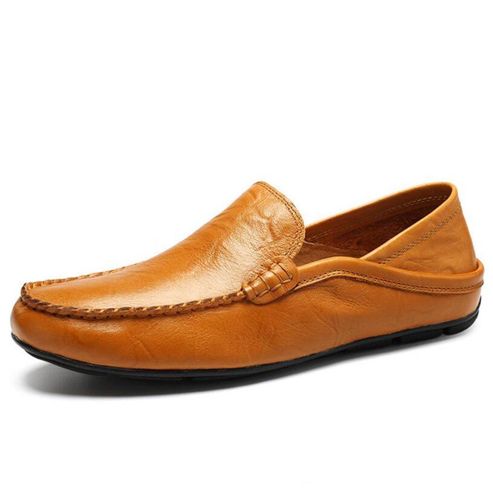 Zapatos de hombre de cuero Mocasín y mocasín de verano de verano Mocasín para ocasiones especiales Oficina y carrera Negro Marrón Azul oscuro Tallas 38-44 GAOLIXIA ( Color : Brown , tamaño : 42 ) 42|Brown