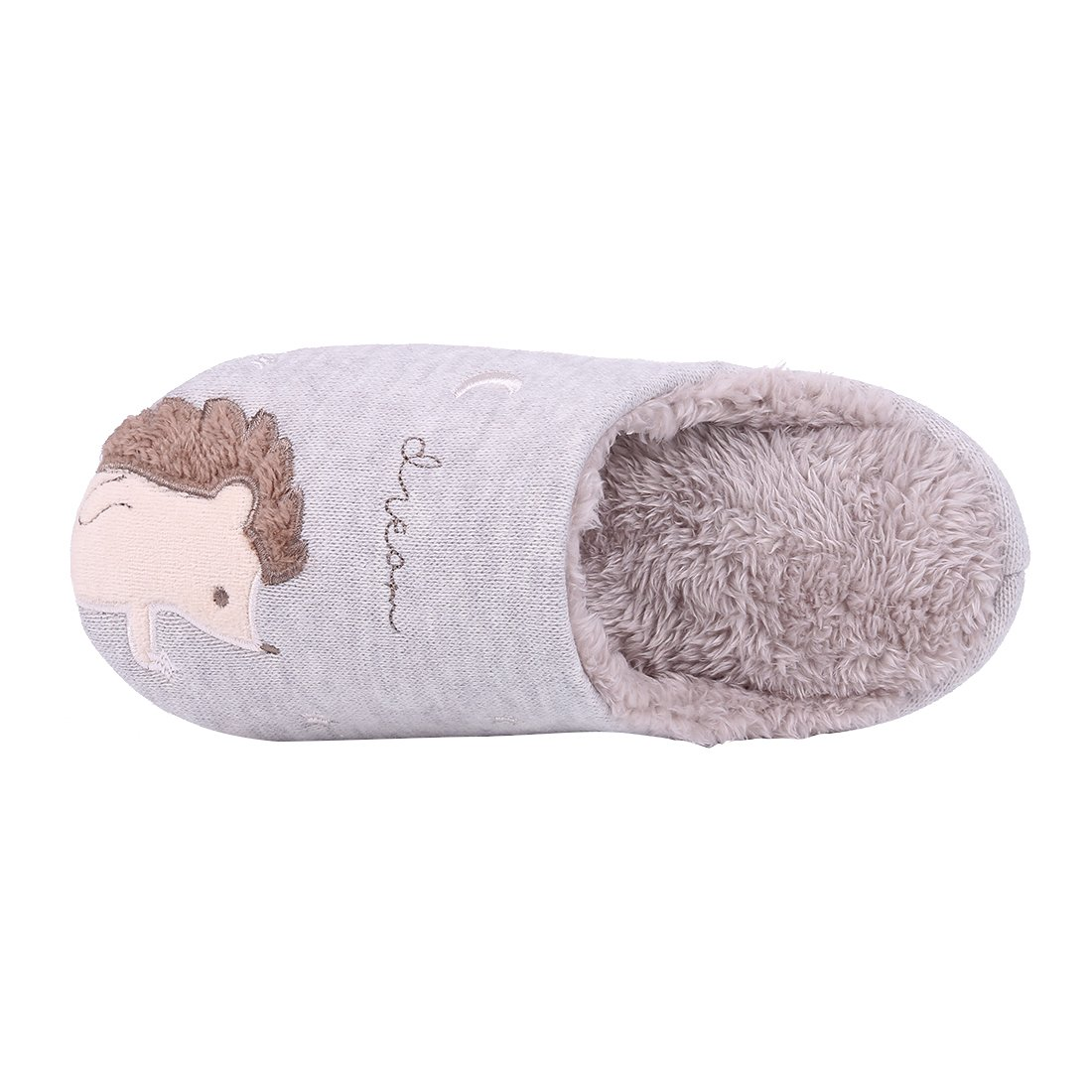 Cute Animal House Slippers Hedgehog Dog Family Indoor Slippers Waterproof Sole Fuzzy Bedroom Slippers for Kids 16G-M by Shevalues (Image #4)