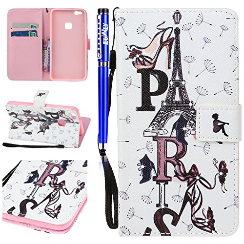 EUWLY Huawei P10 Lite Wallet Case,Huawei P10 Lite Leather Case Cover,Huawei P10 Lite Protective Sleeve with Colored Painted Embossed Pattern,Bling Bling Sparkling PU leather Cover with Rhinestone Diam Tower letters