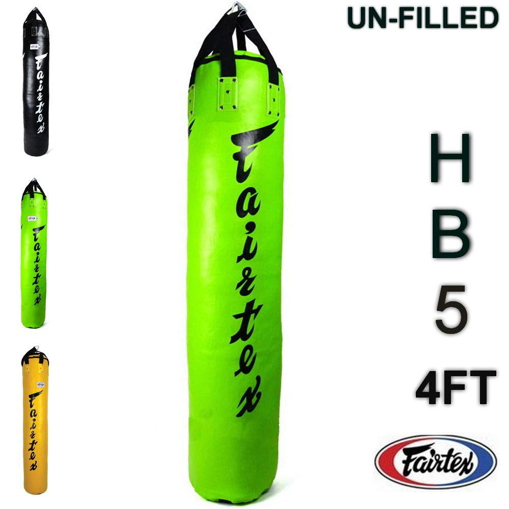 Fairtex hb5 4 ft Syntek Heavyバッグトレーニングキックパンチボクシングムエタイ(un-filled) グリーン