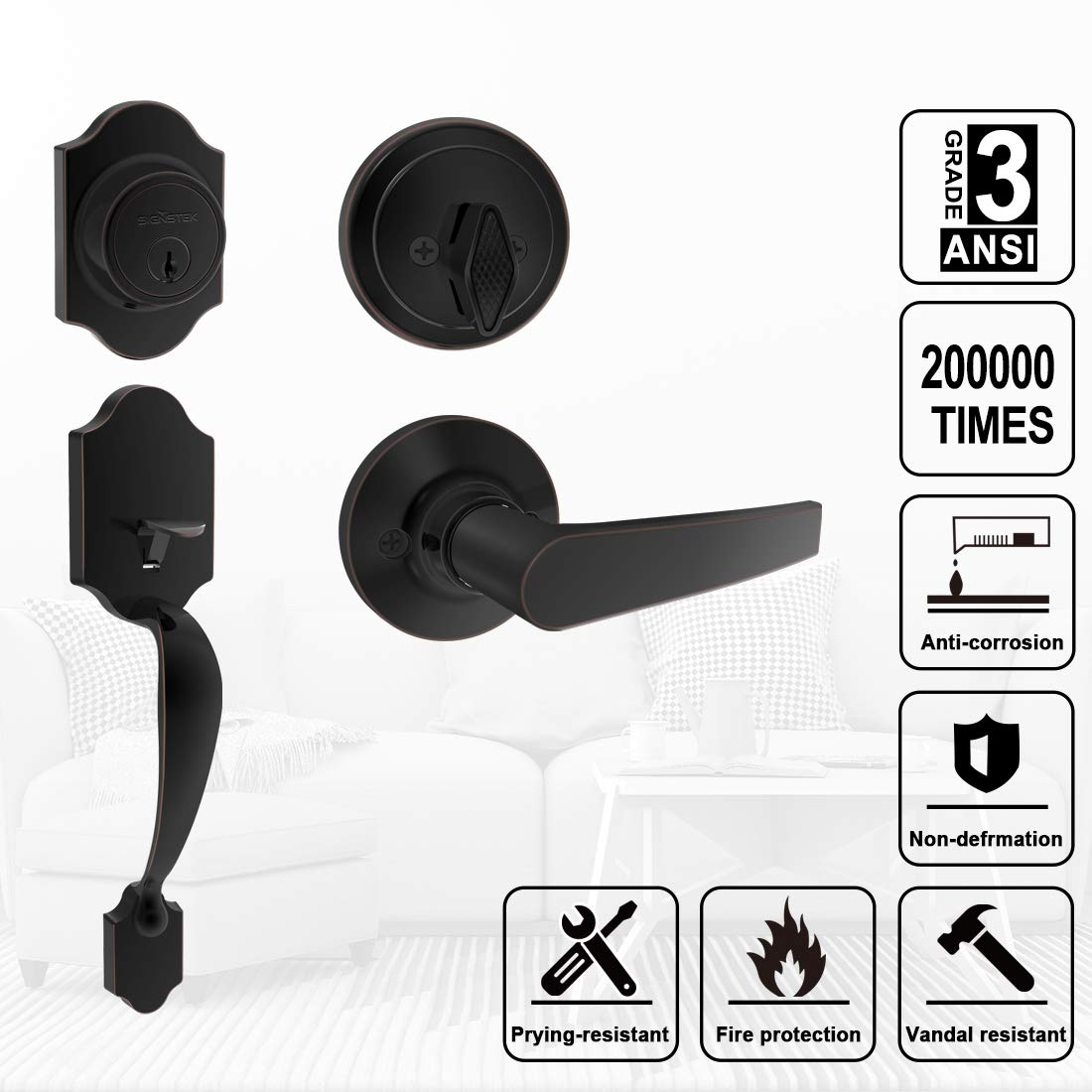Signstek Handleset with Single Cylinder Oil Rubbed Bronze Plus