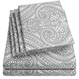 Extra Deep King Comforter Cal King Size Bed Sheets - 6 Piece 1500 Thread Count Fine Brushed Microfiber Deep Pocket California King Sheet Set Bedding - 2 Extra Pillow Cases, Great Value, California King, Paisley Gray