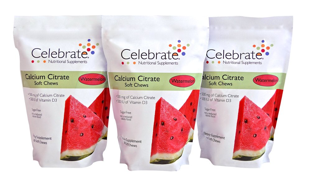 Celebrate Calcium Citrate Soft Chews - 500 mg - Watermelon - 3 Pack