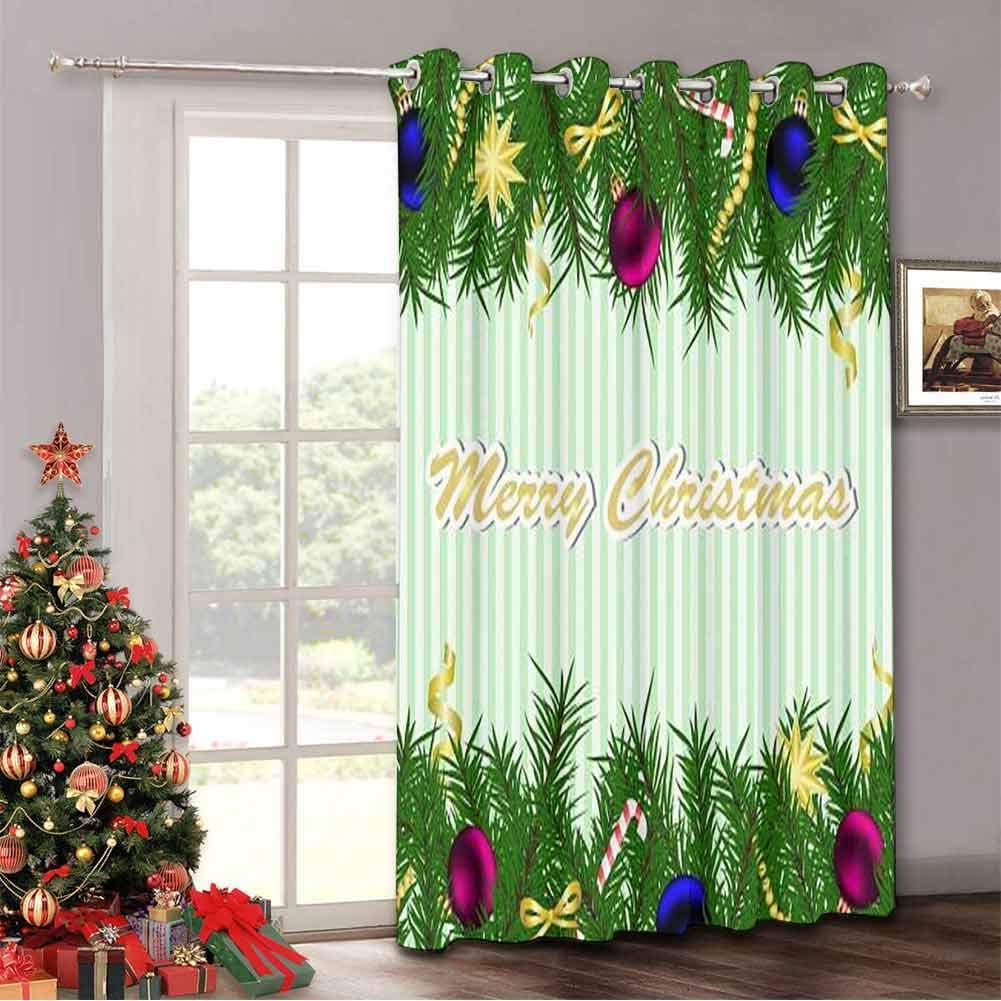 Aishare Store Thermal Insulated Drapes for Patio Door Christmas and New Year Greeting Card,Sliding Door Drapes with Grommet Top(Single Panel 52 Wide by 84 Length Inch