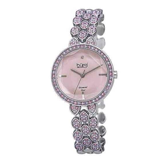 2c5d49c35017 BurgiBUR232 - Reloj de Pulsera para Mujer, con Cristales Swarovski, Carcasa  y Correa con Marcador de Diamantes, Esfera Brillante de Acero Inoxidable