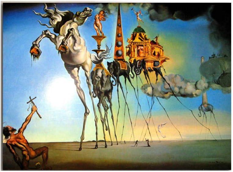 CláSico Poster Impresiones Salvador Dali Abstracto Lienzo Pintura Caballo Elefante Pared Arte Cuadros para Sala Inicio Decoracion 50x70cm No Marco