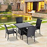 Outsunny 5PC Rattan Dining Set Garden Outdoor Wicker Weave Furniture 4 Armrest Chairs + 1 Table Patio Yard Brown