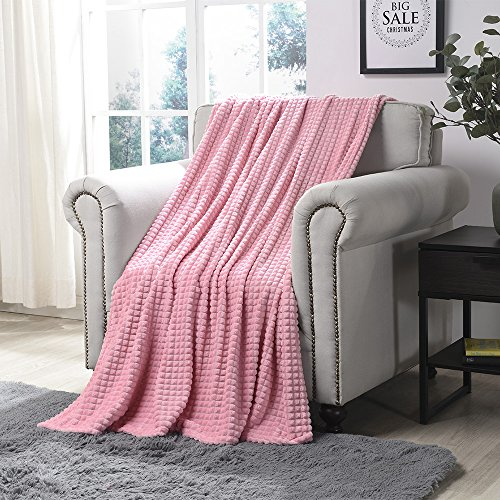 - Simple&Opulence Luxury Microfiber Super Soft Throw Blanket with Stereoscopic Grid Design  (Pink, 50